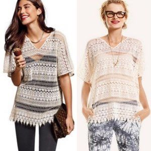 CAbi 5026 Capri Ivory Crochet Lace Tunic Top Cover